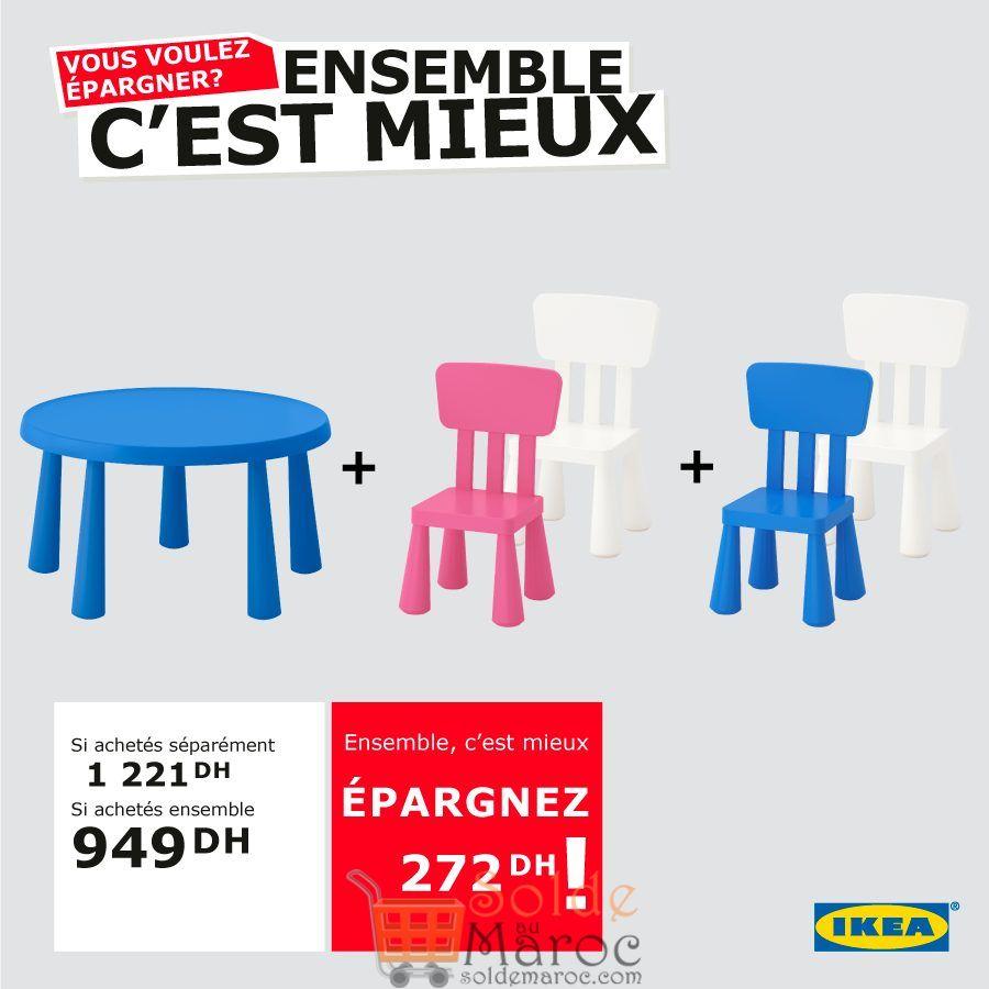 Promo Ikea Maroc Table et 4Chaises MAMMUT 949Dhs au lieu de 1221Dhs