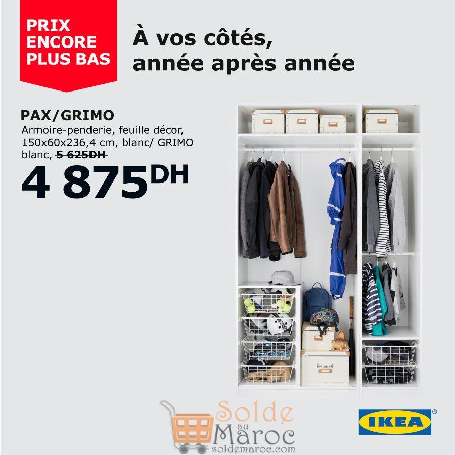 Solde Ikea Maroc Armoire-penderie PAX/GRIMO 4875Dhs au lieu de 5625Dhs