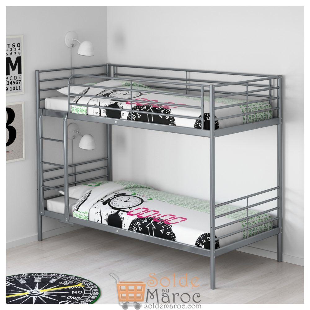 Soldes Ikea Family Cadre de lits superposés SVÄRTA 2249Dhs au lieu de 2795Dhs