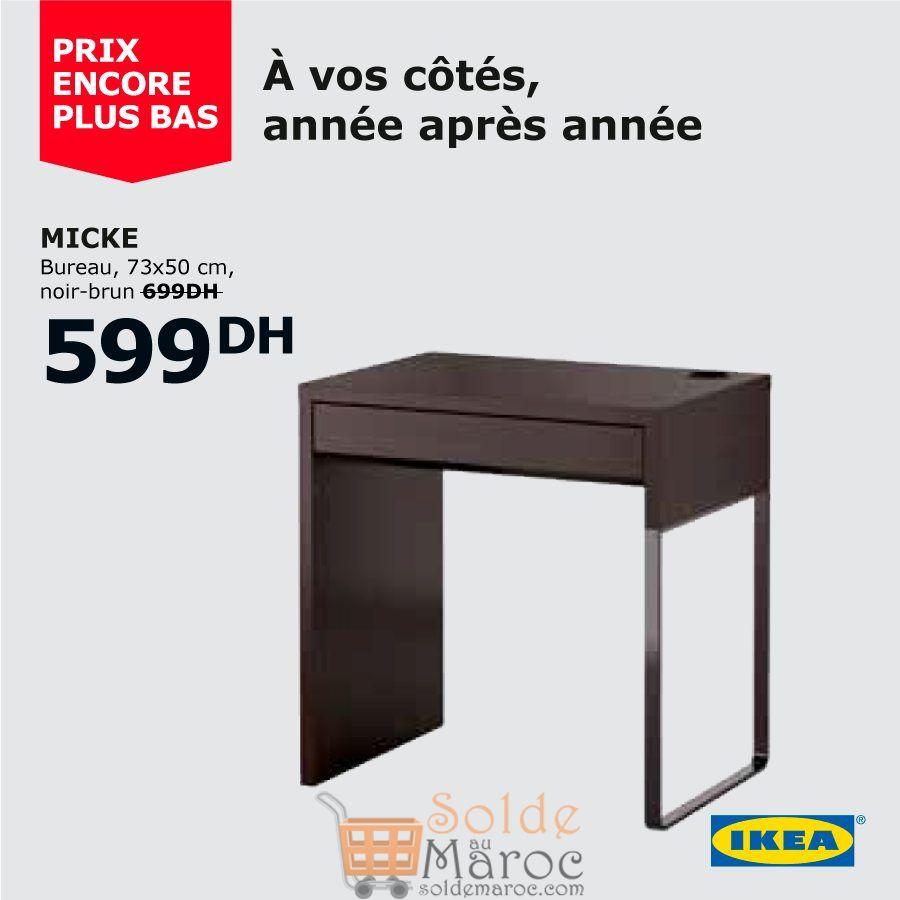 Soldes Ikea Maroc Bureau MICKE noir-brun 599Dhs au lieu de 699Dhs