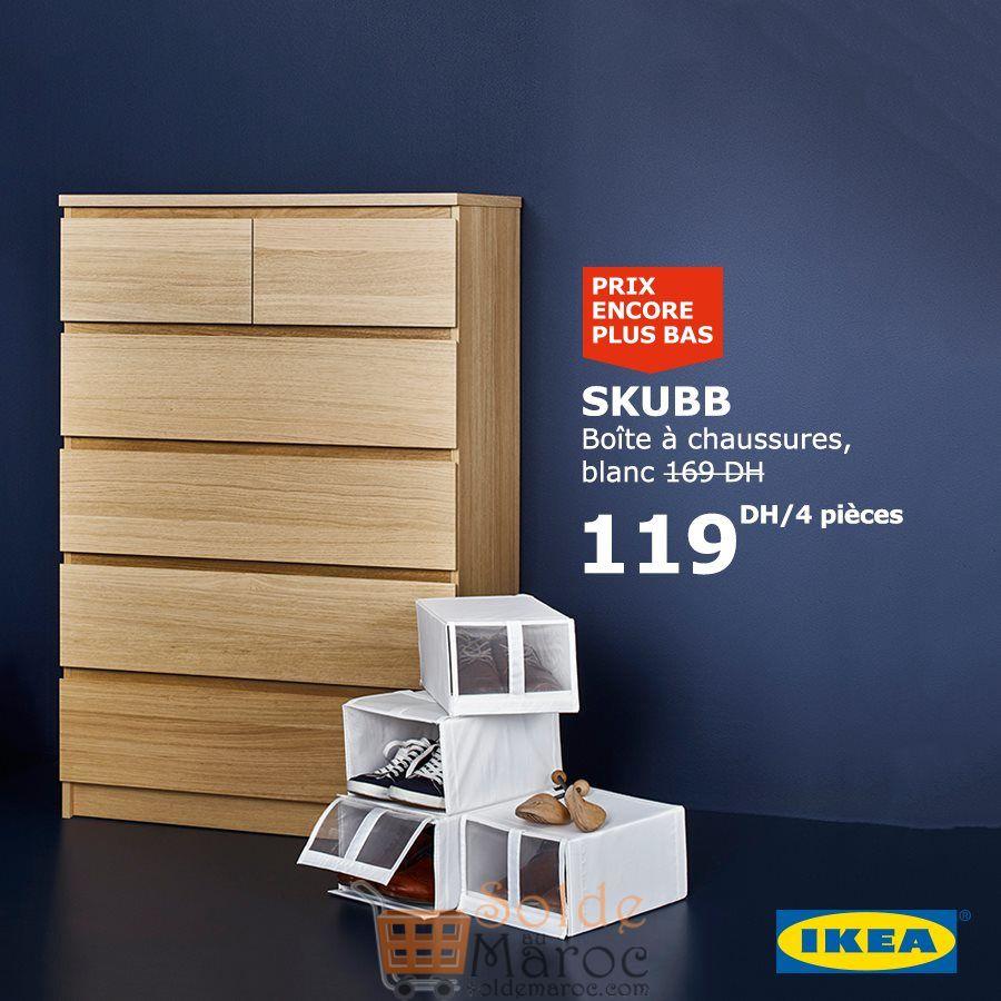 Soldes Ikea Maroc Boite à chaussures Blanche 4 pièces 119Dhs au lieu de 169Dhs