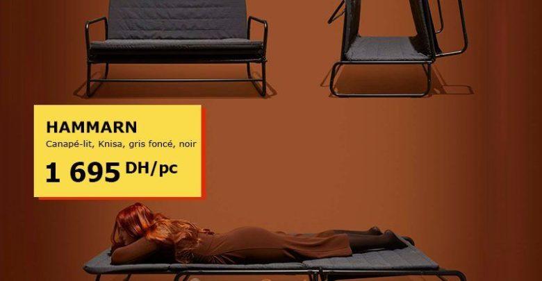Offre Spéciale Ikea Maroc Canapé-lit HAMMARN gris foncé 1695Dhs