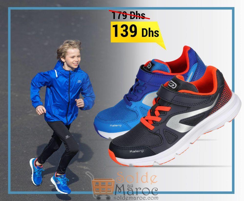Soldes Decathlon Chaussure Running Enfant Ekiden Active Scratch Bleu Rouge 139Dhs au lieu de 179Dhs