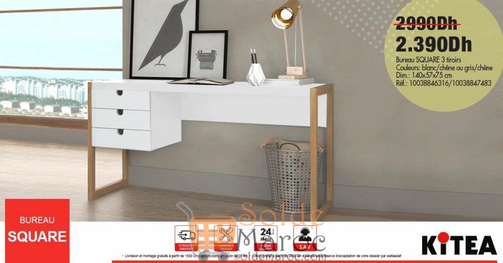 Promo kitea bureau square tiroirs dhs au lieu de dhs