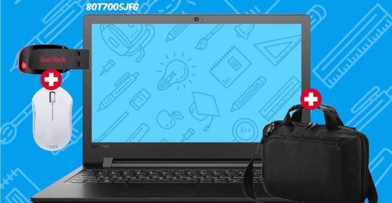 Promo Biougnach Laptop Lenovo Celeron + Sacoche + Souris Sans Fil + Clé USB 32Go 2790Dhs au lieu de 2990Dhs