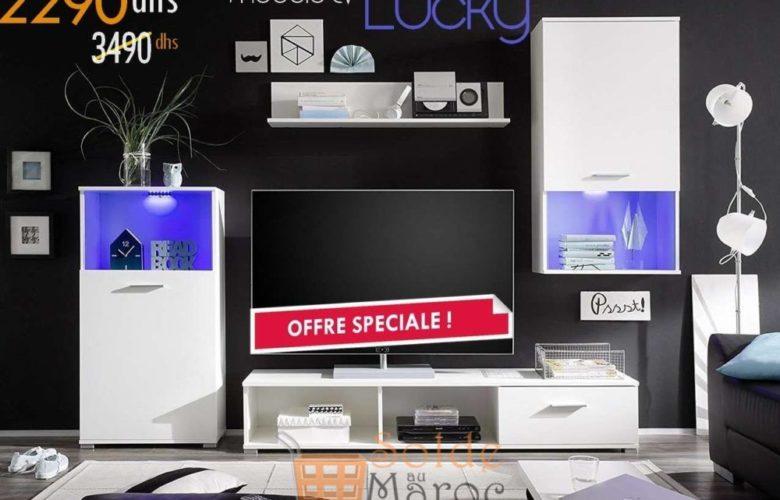 Promo Azura Home ENSEMBLE MEUBLE TV LUCKY 2290Dhs au lieu de 3490Dhs