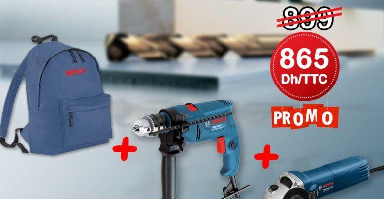 Promo Bricoland Pack Bosch Perceuse + Meuleuse + Sac 865Dhs au lieu de 899Dhs