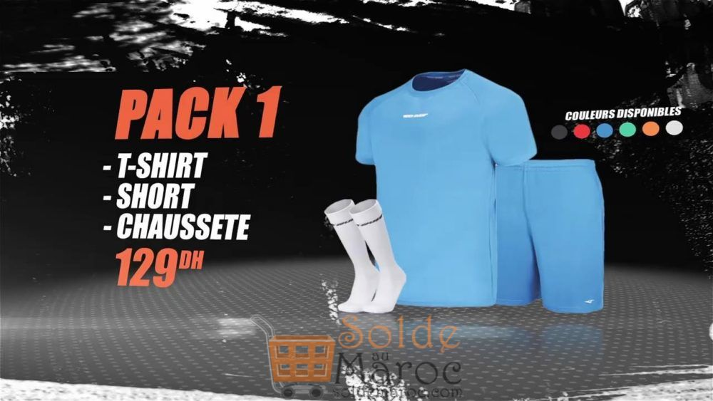 Promo Sport Zone Maroc Pack T-SHIRT Short Chaussette 129Dhs