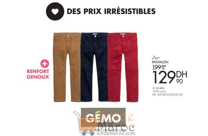 Promo Gémo Maroc Pantalon Garçon 129Dhs au lieu de 199Dhs