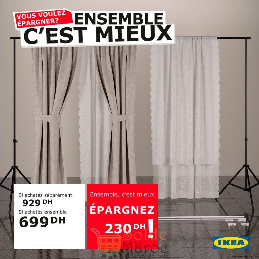 Promo Ikea Maroc Combinaison de Rideaux + supports 699Dhs au lieu de 929Dhs