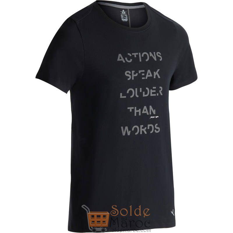 Promo Decathlon T-Shirt 520 slim col rond Gym & Pilates homme noir printé 79Dhs au lieu de 99Dhs