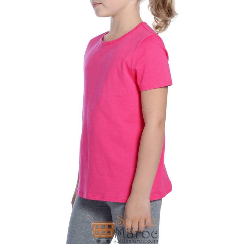 Promo Decathlon T-Shirt DOMYOS Manches courtes 100 Gym Fille rose 19Dhs au lieu de 26Dhs