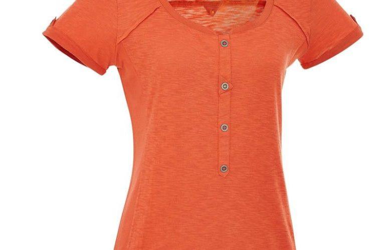 Soldes Decathlon T-Shirt manches courtes Randonnée Femme Arpenaz 500 Orange 49Dhs au lieu de 89Dhs