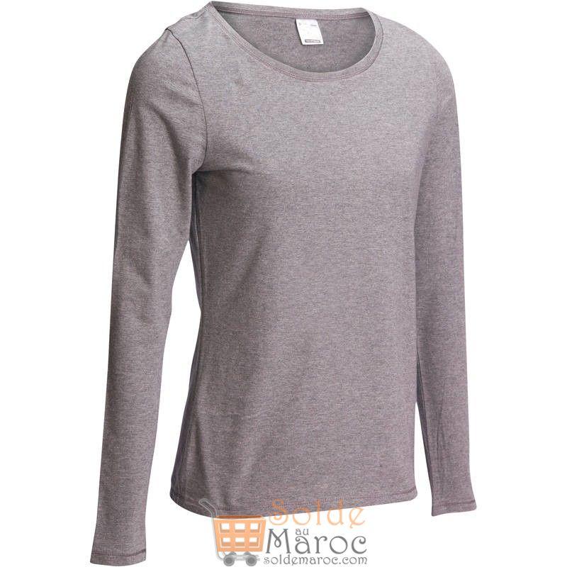 Soldes Decathlon T-Shirt 100 manches longues Gym Stretching femme gris chiné 39Dhs au lieu de 69Dhs