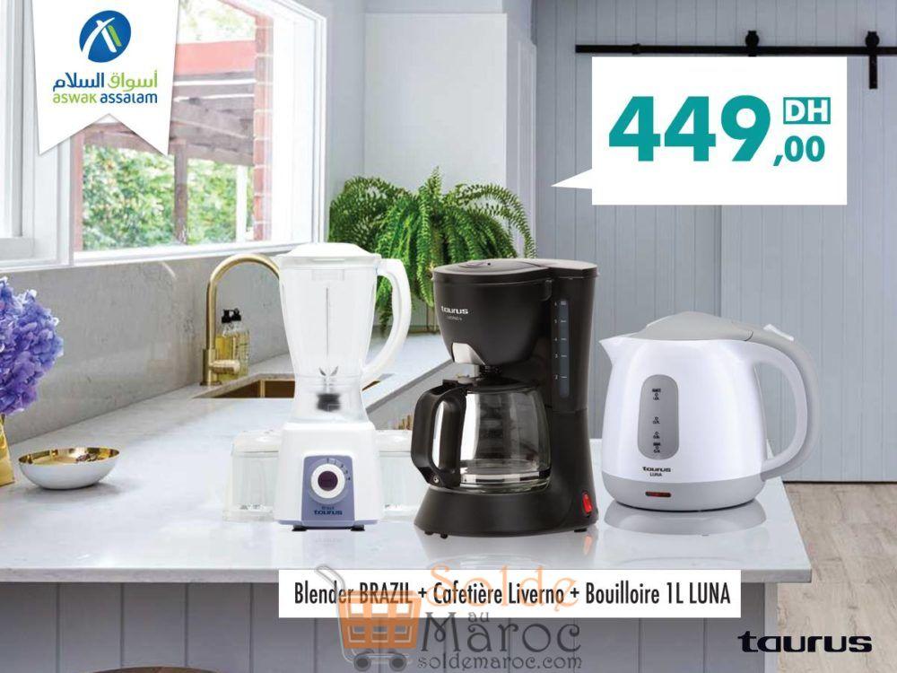 Promo Aswak Assalam Pack Taurus Blender + Cafetière + Bouilloire 449Dhs