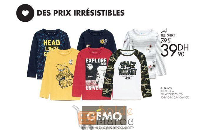 Promo Gémo Maroc Tee-shirt Automne 39Dhs au lieu de 79Dhs