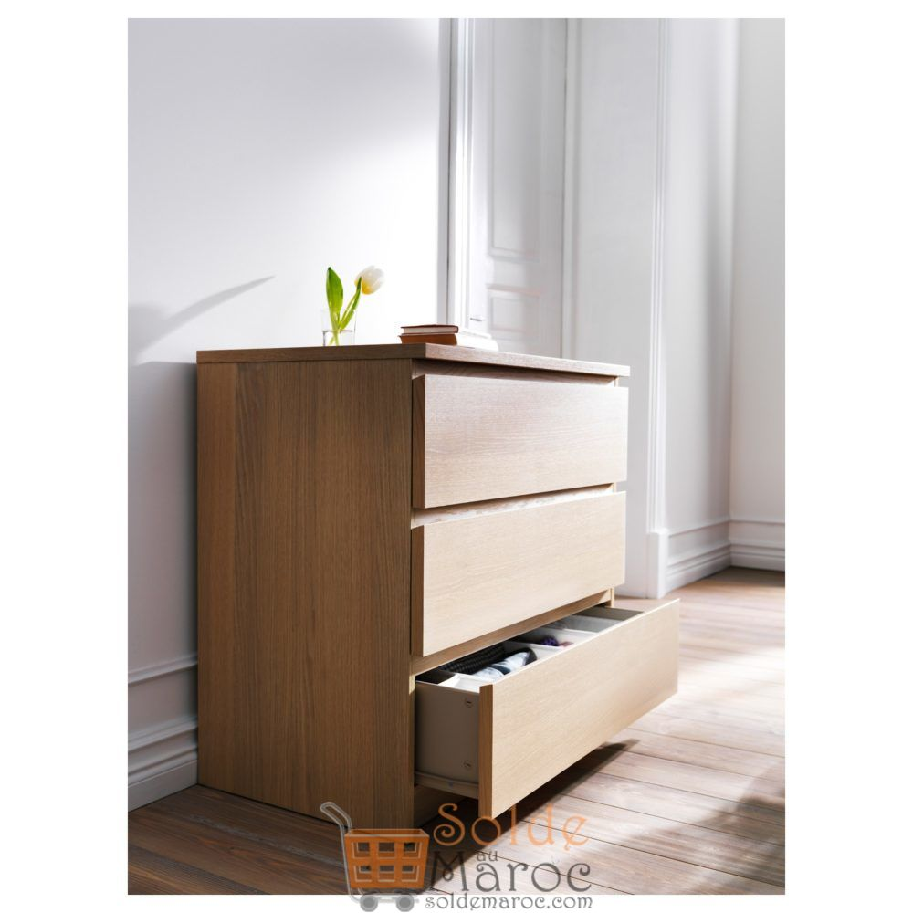 Soldes Ikea Maroc Commode 3 tiroirs MALM plaqué chêne blanchi 649Dhs au lieu de 1195Dhs