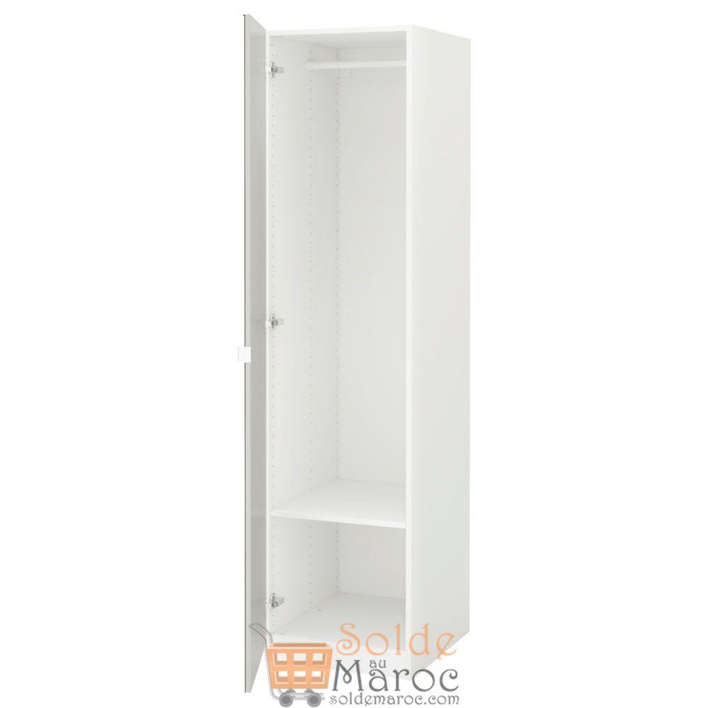 Soldes Ikea Maroc Penderie PAX Vikedal Blanc miroir 1290Dhs au lieu de 1650Dhs