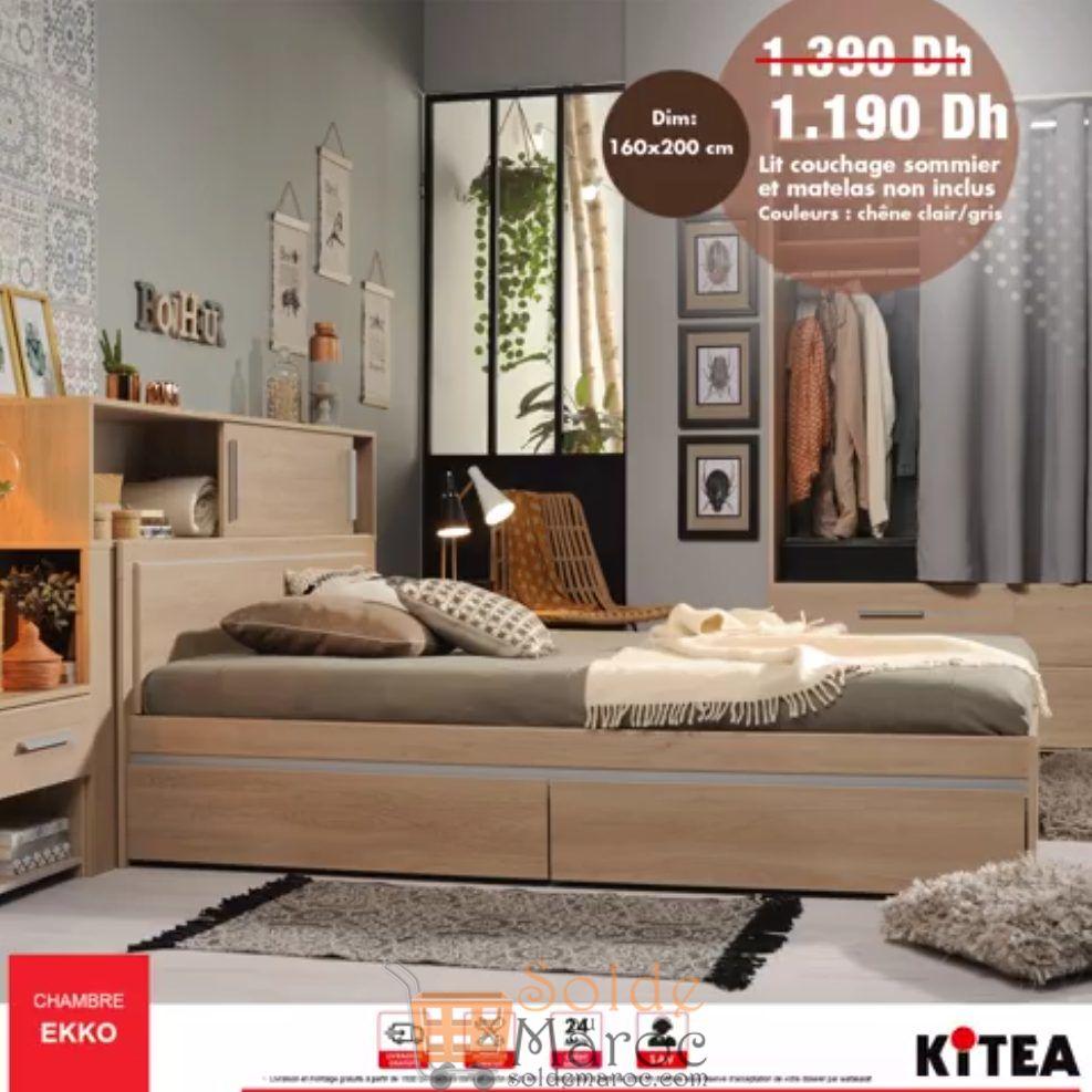 Promo Kitea Lit Couchage 160x200 Chambre EKKO 1190Dhs au lieu de 1390Dhs