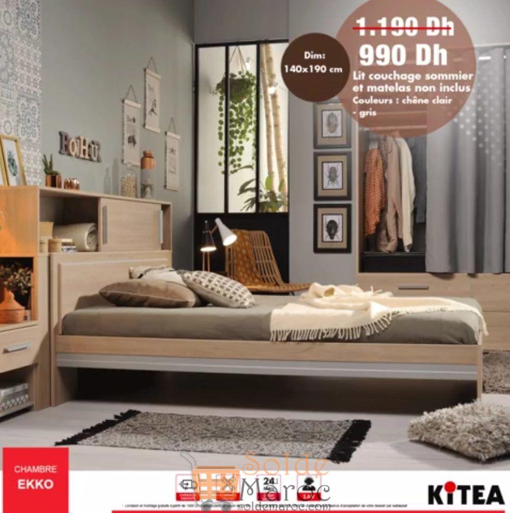 Promo Kitea Lit Couchage 140x190 Chambre EKKO 990Dhs au lieu de 1190Dhs