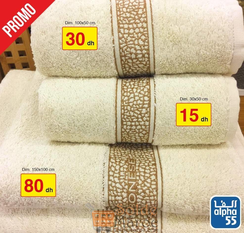 Promo Alpha55 large choix de serviettes de bain à partir de 10Dhs