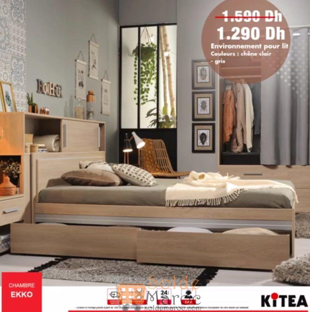 Promo Kitea Environnement pour Lit Chambre EKKO 1290Dhs au lieu de 1590Dhs