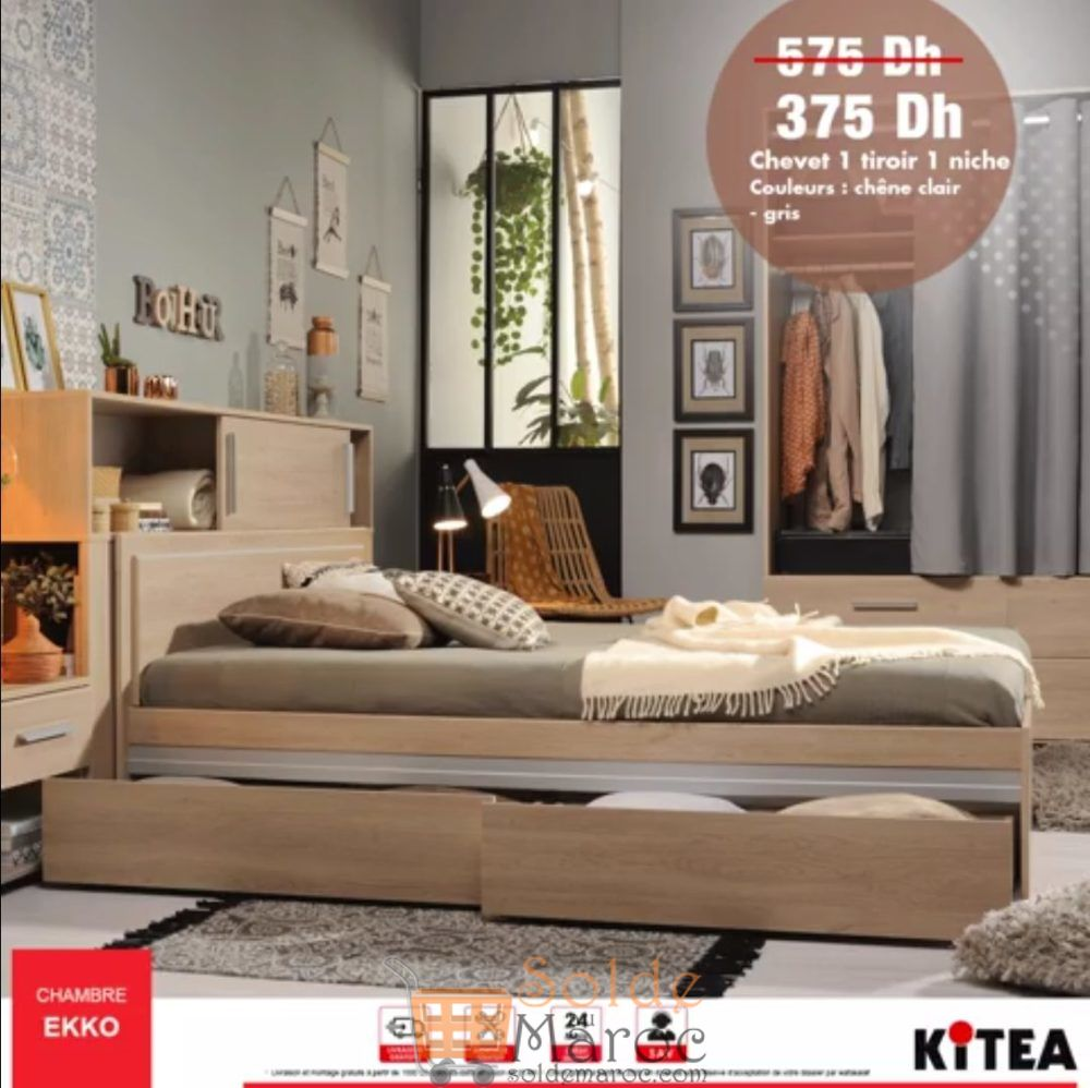 Promo Kitea Chevet 1 tiroir 1 niche Chambre EKKO 375Dhs au lieu de 575Dhs