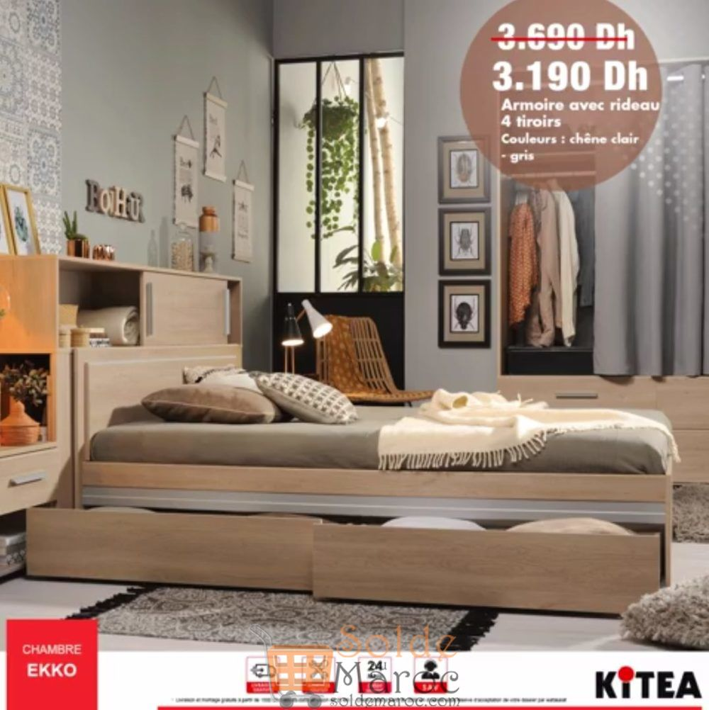 Promo Kitea Armoir avec rideau 4 tiroirs Chambre EKKO 3190Dhs au lieu de 3690Dhs