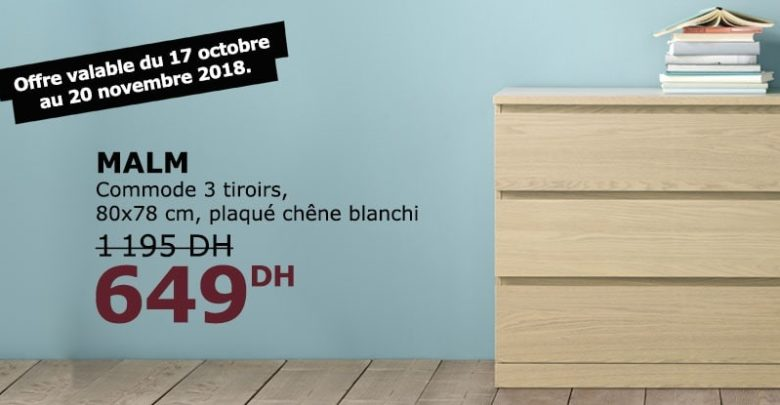 Photo of Soldes Ikea Maroc Commode 3 tiroirs MALM plaqué chêne blanchi 649Dhs au lieu de 1195Dhs
