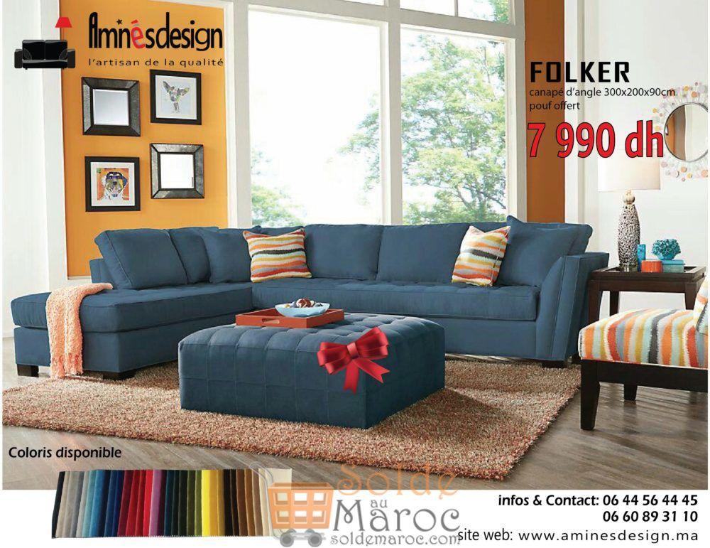 Offre Spéciale Amines Design Canapé d'angle FOLKER 7990Dhs au lieu 10590Dhs