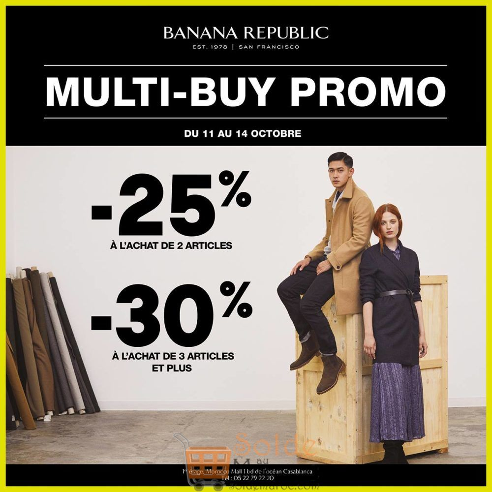 Promo Banana Republic Maroc -25% et -30% jusqu'au 14 Octobre 2018
