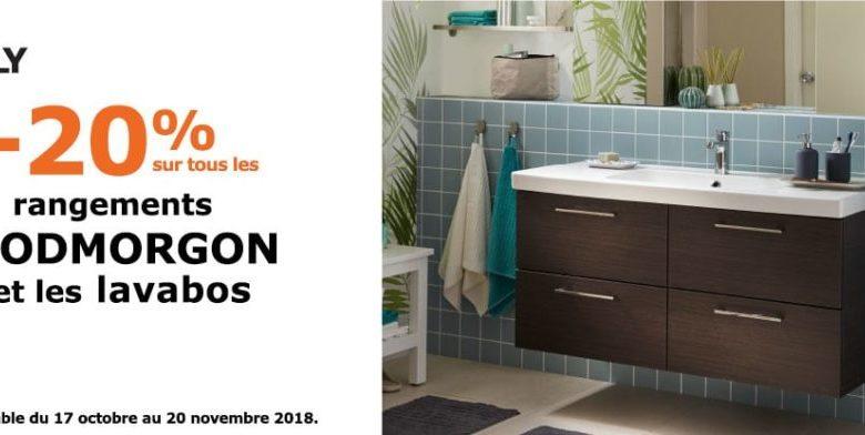 Promo Ikea Family Maroc -20% Rangements GODMORGON et Lavabos