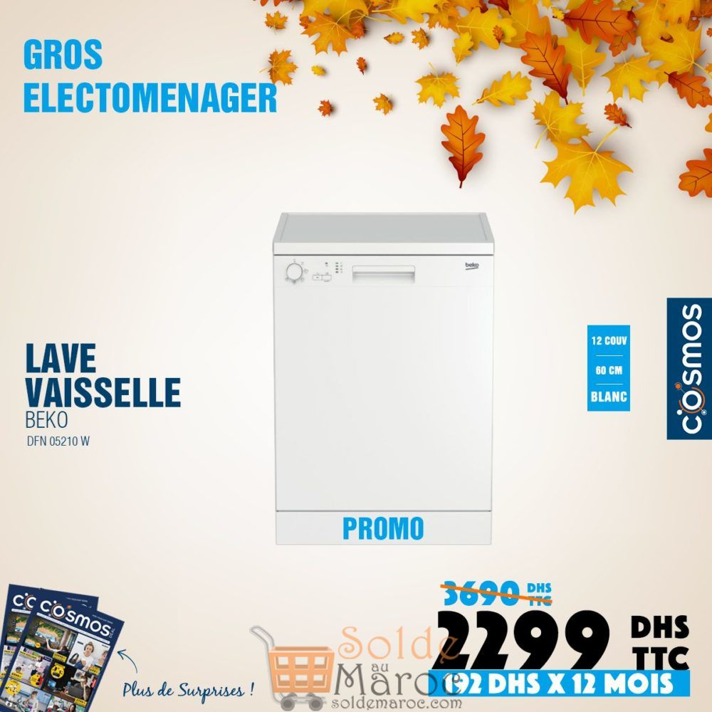 Promo Cosmos Electro Lave-Vaisselle BEKO 2290Dhs au lieu de 3690Dhs