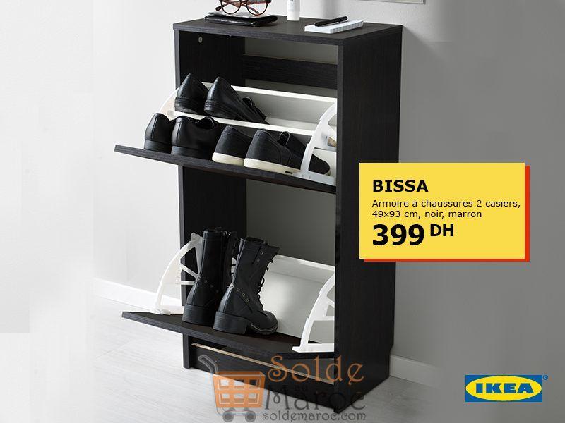 Offre Spéciale Ikea Maroc Armoire à chaussures BISSA 2 casiers Noir marron 399Dhs