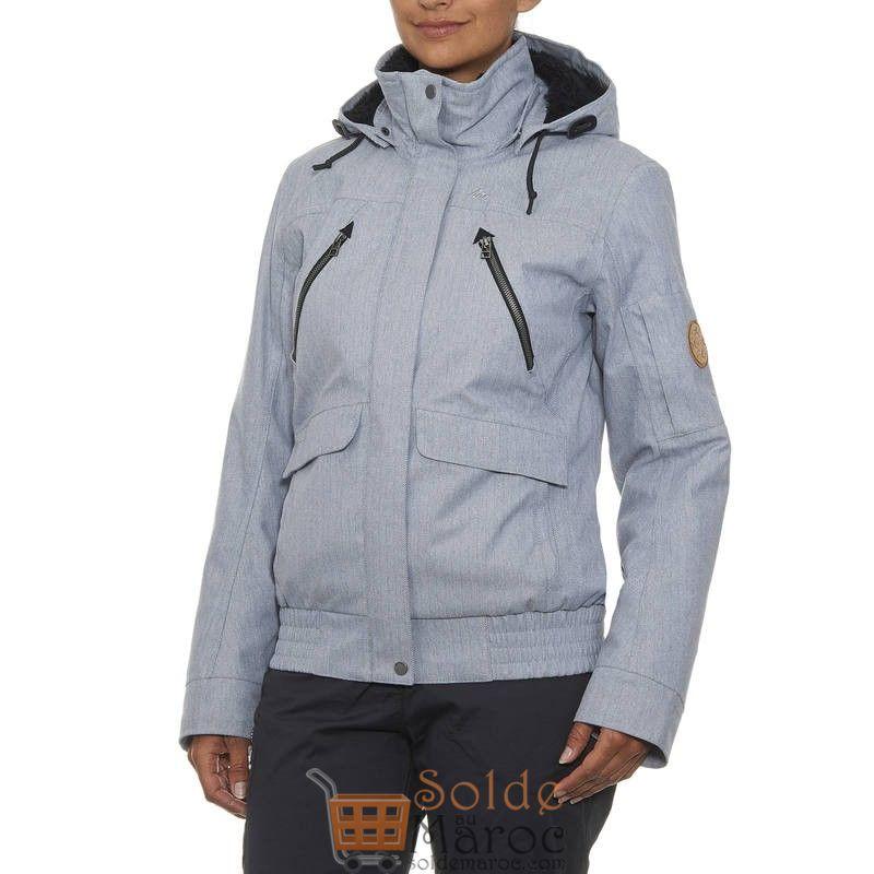 Promo Decathlon Veste de randonnée neige femme SH500 x-warm gris 599Dhs au lieu de 729Dhs