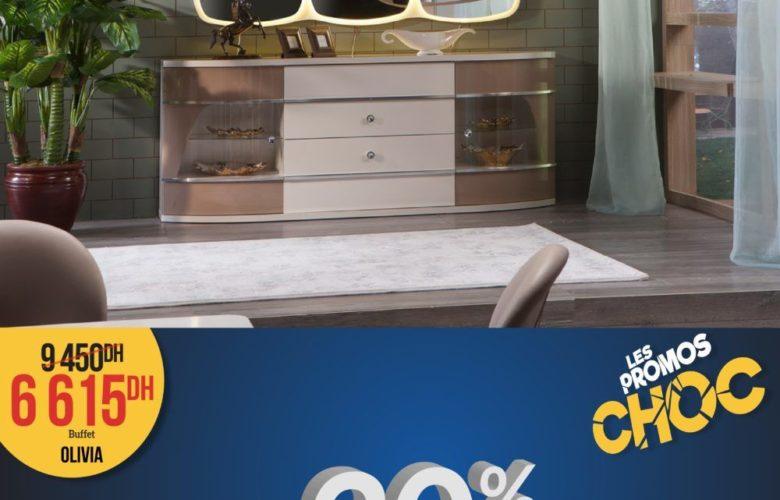 Promo Istikbal Maroc BUFFET OLIVIA DE SALLE A MANGER + MIROIR 6615Dhs au lieu de 9450Dhs