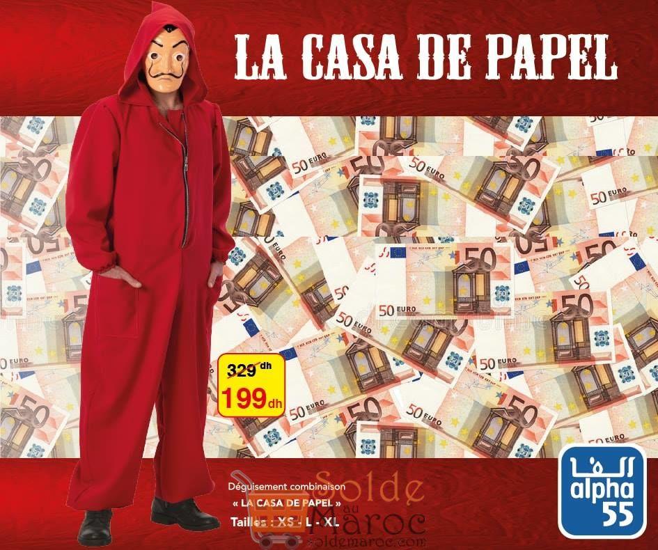Promo Alpha55 Déguisement LA CASA DE PAPE 199Dhs au lieu de 329Dhs
