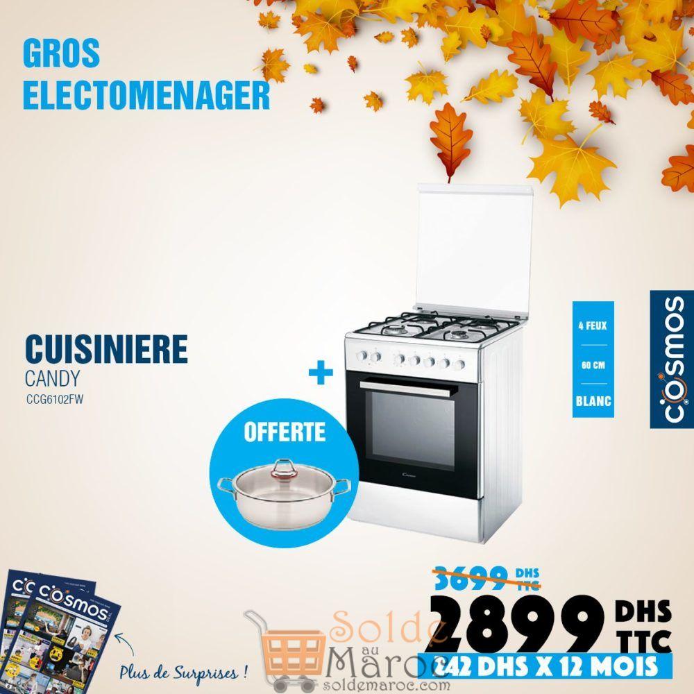 Promo Cosmos Electro Cuisinière CANDY 4 Feux Blanche 2899Dhs au lieu de 3699Dhs