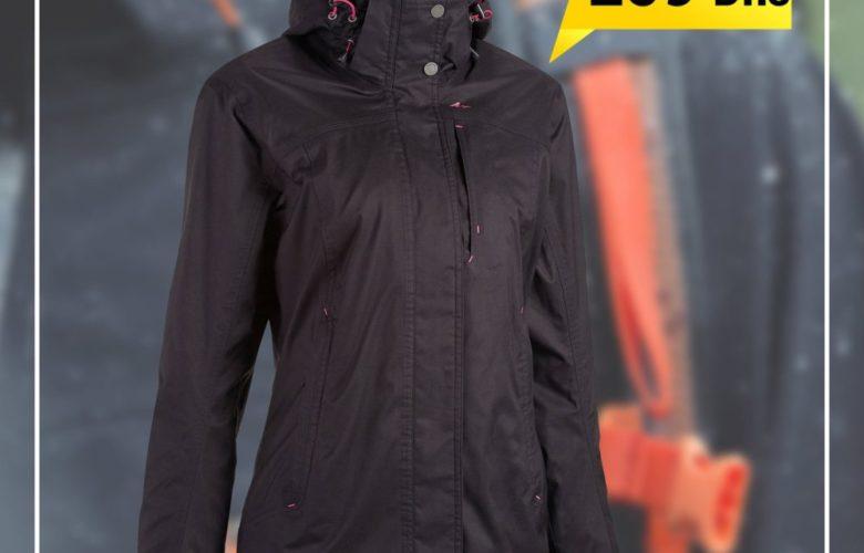 Soldes Decathlon Veste Pluie Imperméable Randonnée Arpenaz 300 Femme Noir 259Dhs au lieu de 369Dhs