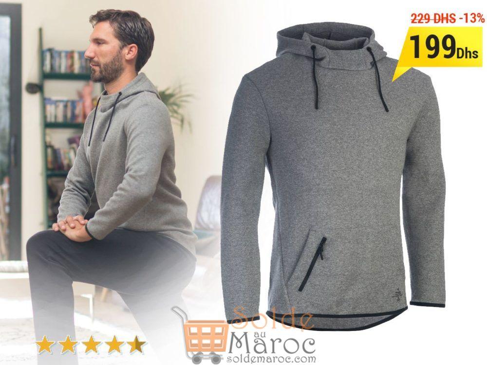 Promo Decathlon Sweat-shirt 560 Gym & Pilates homme capuche gris DOMYOS 199Dhs au lieu de 229Dhs