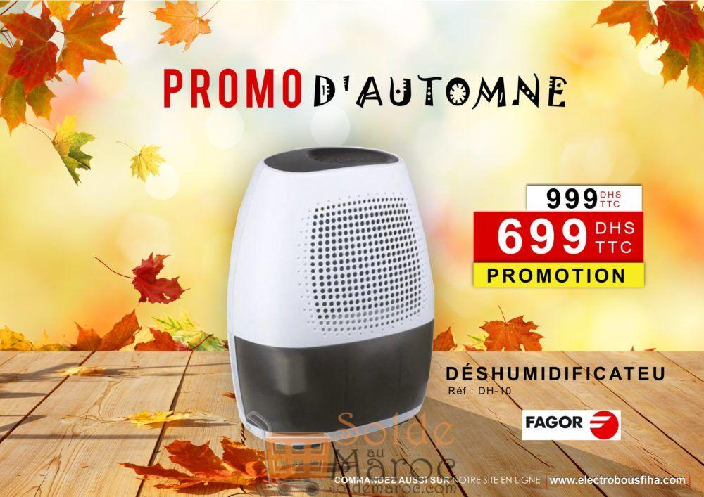 Promo Electro Bousfiha Déshumidificateur FAGOR 10L 699Dhs au lieu de 1000Dhs