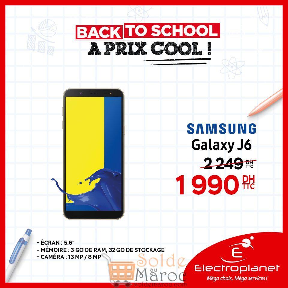 Promo Electroplanet Samsung Galaxy J6 1990Dhs au lieu de 2249Dhs