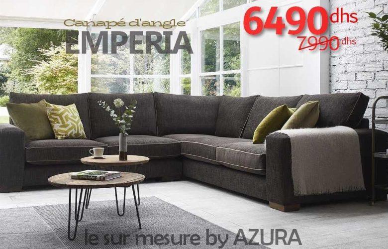 Vente Flash Azura Home CANAPÉ D'ANGLE EMPERIA 6490Dhs au lieu de 7990Dhs
