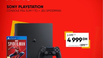 Bon plan Fnac Maroc Sony Console PS4 Slim 1To Playstation + jeu Spiderman 4999Dhs au lieu de 5598Dhs
