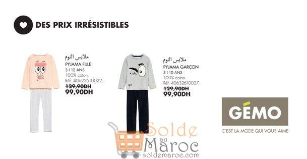 Promo Gémo Maroc Pyjama Fille et Garçon 99Dhs au lieu de 129Dhs