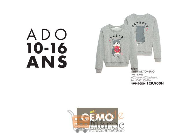Promo Gémo Maroc Sweat Recto Verso 129Dhs au lieu de 199Dhs