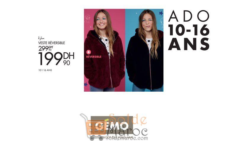 Promo Gémo Maroc Veste Réversible 199Dhs au lieu de 299Dhs
