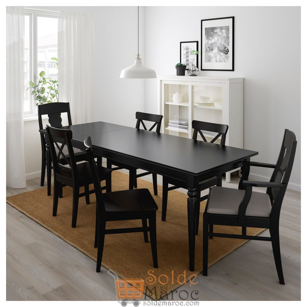 soldes ikea maroc table extensible ingatorp noir 3795dhs. Black Bedroom Furniture Sets. Home Design Ideas