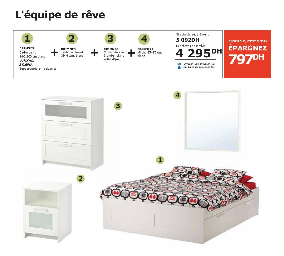 Soldes Ikea Maroc Pack BRIMNES NISSEDAL SKORVA 4295Dhs au lieu de 5092Dhs