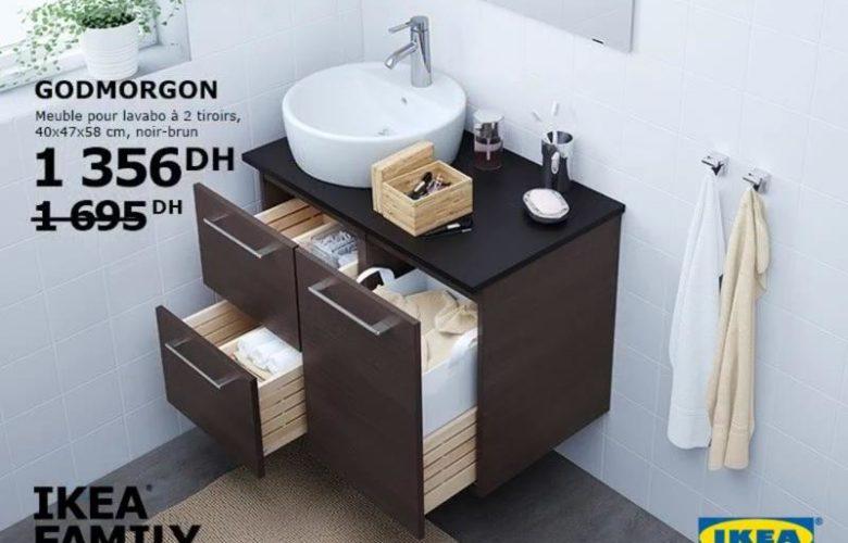 Promo Ikea Family Maroc Meuble pour lavabo GODMORGON 1356Dhs au lieu de 1695Dhs